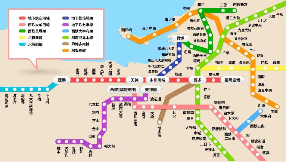 福岡旅行 市内路線図